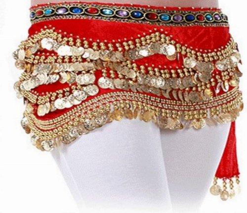 Imagen de del vientre de disfraz de riñonera y botella de agua múltiple hamaty jelinda con bufanda 3 310 para faldas de mujer de monedas de golden monedas líneas, color rosso, tamaño tamaño único