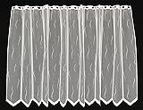 Rideaux brise-bise avec un modèle de petite vague blanc 90 cm de haut   La largeur est réglable en fonction du nombre de pièces en pas de 25,5 cm.   Couleur: Blanc