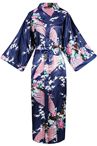 BABEYOND Damen Morgenmantel Maxi Lang Seide Satin Kimono Kleid Pfau Muster Kimono Bademantel Damen Lange Robe Schlafmantel Girl Pajama Party (Dunkelblau)