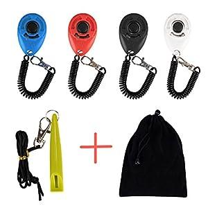 ErKan Training Clickers, 4 Pcs Clicker avec bracelet élastique pour Clickertraining avec + sifflet de chien pour chien cheval de chat