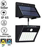IFITech Solar LED Wall Security Light with Motion Sensor (30 LED, Warm White)
