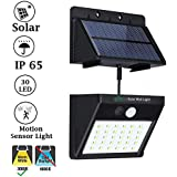IFITech Solar LED Wall Security Light with Motion Sensor (30 LED, Warm White), 3 Modes of Lighting - Detachable Panel
