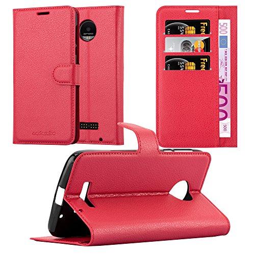 Cadorabo Hülle für Motorola Moto Z Force - Hülle in Karmin ROT - Handyhülle mit Kartenfach & Standfunktion - Case Cover Schutzhülle Etui Tasche Book Klapp Style