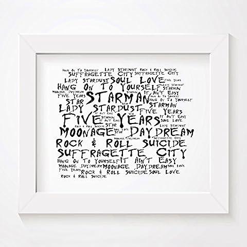 `Noir Paranoiac` Kunstdruck - DAVID BOWIE - Ziggy Stardust and the Spiders from Mars - Unterzeichnet und Nummerierten Limitierte Auflage Typografie Ungerahmt 25 x 20 cm (10 x 8 inch) Wand Kunst Druck Text Lyrisch Grafik Plakat - Song Lyrics Art Print
