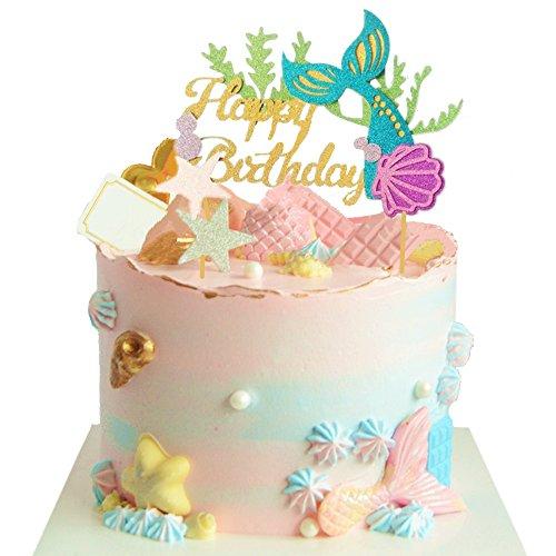 JeVenis Glitter Meerjungfrau Kuchen Topper Alles Gute Zum Geburtstag Kuchen Picks Mermaid Kuchen Dekoration Für Meerjungfrau Baby Shower Birthday Party Supplies