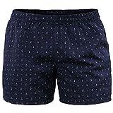 Costume Uomo Mare Pantaloncino Boxer Corto Blu con Ancore Bermuda da Bagno Piscina Shorts con Tasche Elastico Calzoncino Mare Piscina Nuoto Spiaggia (Blu, XXL)