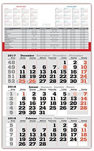3 Monats Wandkalender 2018 mit Datumschieber in Rot, inkl. Ferienübersichten und Jahresüberblick 2018 und 2019, Dreimonatskalender werbefrei, 3 Monatskalender keine Werbung
