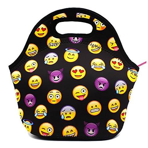Flyfish Neoprene Insulated Lunch Bag Waterproof Personalized Insulated Lunch Bags Picnic Lunch Food Handbag (Emoji
