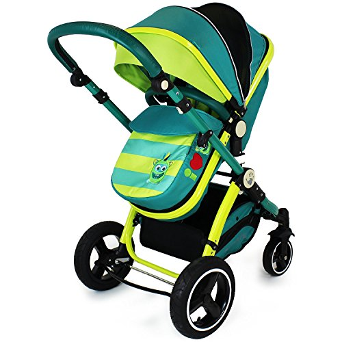 i-Safe System – Lil Friend Trio Travel System Pram & Luxury Stroller 3 in 1 Complete With Car Seat + Footmuff + Carseat Footmuff + RainCovers