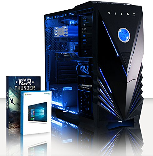 VIBOX Panoramic 19 PC Gamer - 3,5GHz Intel i5 Quad Core CPU, GPU GT 710, Budget, Ordinateur PC de Bureau Gaming paquet de jeux, unité centrale, Windows 10, Éclairage Interne Bleu (3,0GHz (3,5GHz Turbo) Processeur CPU Quad 4-Core Intel i5 7400 Kabylake Ultra Rapide, Carte Graphique Dédiée Nvidia GeForce GT 710 1 Go, 8 Go Mémoire RAM ddr4 1600MHz Grande Vitesse, Disque Dur Sata III 7200rpm 1 To (1000 Go), Ventilateur de processeur PC à Air Raijintek Aidos, PSU 400W 85+, Boîtier Gamer Vibox Bleu)