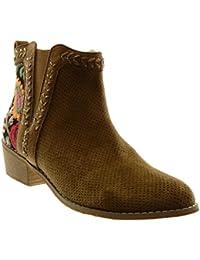 Angkorly Chaussure Mode Bottine Bottes Indiennes Chelsea Boots Femme Fleurs  Perforée Brodé Talon Haut ... 3e126db83c53