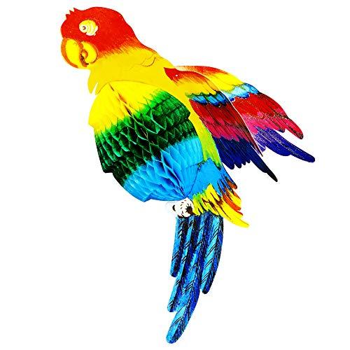 Widmann 95767 Wabenball Papagei, Unisex- Erwachsene, Mehrfarbig, Einheitsgröße (Karibik Themed Kostüm)