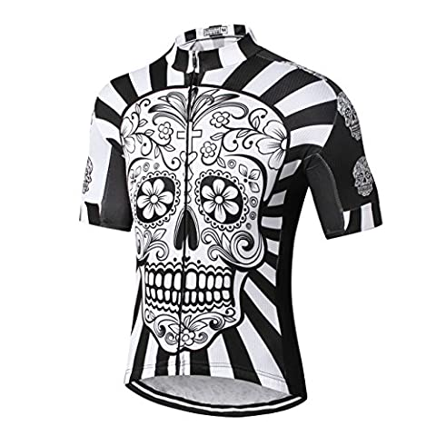 Mens Cycling Jersey 2017 Weimostar Best Pro Team Men MTB Road Cycle Short Sleeve Clothes Bike Shirts Bicycle Racing Clothing Black White, Quick Dry, Both Sides Breathable Elasticity net, Lycra Cuff, Skull Flower, M L XL XXL