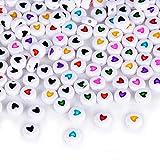 ca. 400 stück Mini Perlen set (Acryl oder Holz) Bastelperlen für Armbänder Acrylperlen zum basteln Holzperlen zum auffädeln Holzkugeln mit Loch Bunt Kugeln (Acryl, ca. 3 x 7 mm)