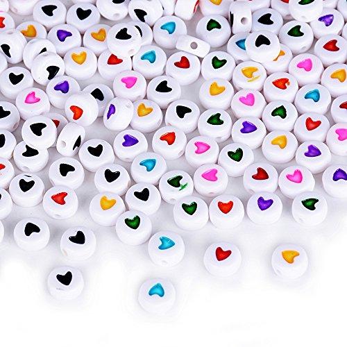 400 X Cuentas Redondas Corazón Colgantes Abalorios de Resina Acrílico Granos de Espaciador Mezcla Bricolaje DIY Regalo Cadena Collar Joyas Perlas Varios Modelos (3 * 7mm Cuentas de corazón* 400pcs)
