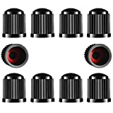 TYPHEERX Tyre Valve Caps, 10pcs Plastic Car Bike Tire Stem Dust Covers with Red Seal O-Ring for SUV, Bicycle, Motorbike, Trucks(Black)