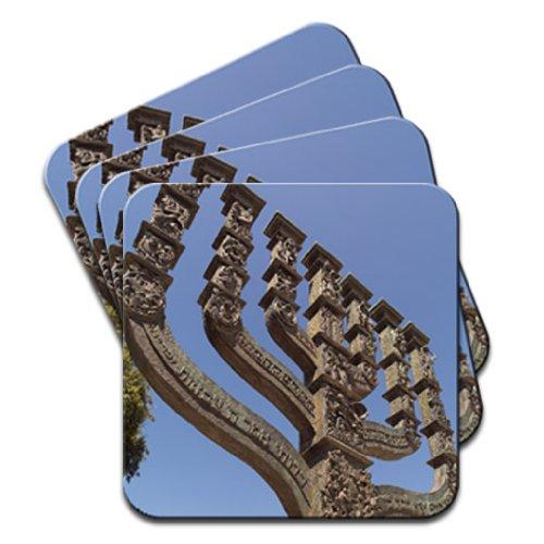 Jewish Koresset Menorah, Gerusalemme Israele set di 4sottobicchieri in legno