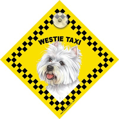 West Highland Terrier (Westie) 'TAXI' Suction Sign - size 4.5 x 4.5 inches