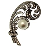 Acosta Brooches - Marcasite Style Crystal & Pearl Feather Leaf Brooch (Silver Tone) - Vintage Style Jewellery Gift