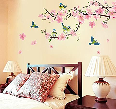 Pink Peach Blossom Flowers Wall Decal Home Sticker Paper Removable Living Dinning Room Bedroom Kitchen Art Picture Murals DIY Stick Girls Boys Kids Nursery Baby Playroom