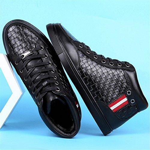 Hhy-confortable Et Respirantautomne Et D'hiver En Cuir Velours Chaud Hommes Casual Chaussures Plates Chaussures En Coton Noir (plus De Velours)