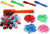 PREMIUM BINGO SET: 400 pezzi, magnetici e trasparenti | Inclusa paletta magnetica | Pedine da gioco con bordo magnetico in vari colori: arancione