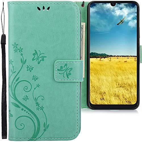 CLM-Tech Hülle kompatibel mit Samsung Galaxy A50 - Tasche aus Kunstleder - Klapphülle mit Ständer und Kartenfächern, Schmetterlinge grün