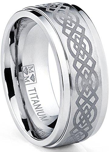 Ultimate metals® anello di fidanzamento in titanio con disegno celtico inciso -- fede nuziale in titanio da uomo 9mm
