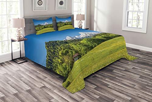 ABAKUHAUS Deutschland Tagesdecke Set, Bayerische Alpen Dorf, Set mit Kissenbezügen Romantischer Stil, für Doppelbetten 220 x 220 cm, Wald Grün Farngrün Himmelblau -