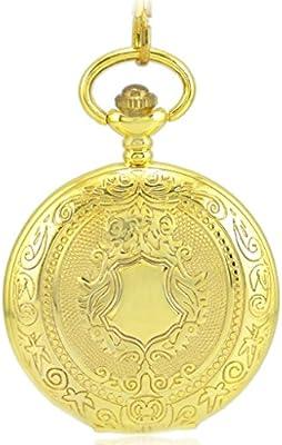 Stayoung Steampunk Antiguo Lujoso Color Dorado Números Romanos Cuerda Manual Reloj de Bolsillo Mecánico Colgante Cadena Patrón de Escudo Alta Calidad