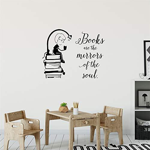 wlwhaoo Junge liest Buch Wandtattoo für Kinderzimmer schönes Zitat Vinyl Aufkleber Teen Room Decor Bücher Decals Kinder Dekoration lila 74x57 cm