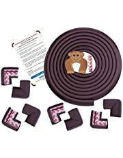 AMAZARA Baby Proofing Edge & Corner Guards   Extra Long 16.4Ft Edge + 8 Pre-Taped Corner Protectors   Child Safety Furniture Cushions   Brown
