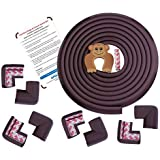 AMAZARA Baby Proofing Edge & Corner Guards | Extra Long 16.4Ft Edge + 8 Pre-Taped Corner Protectors | Child Safety Furniture Cushions | Brown