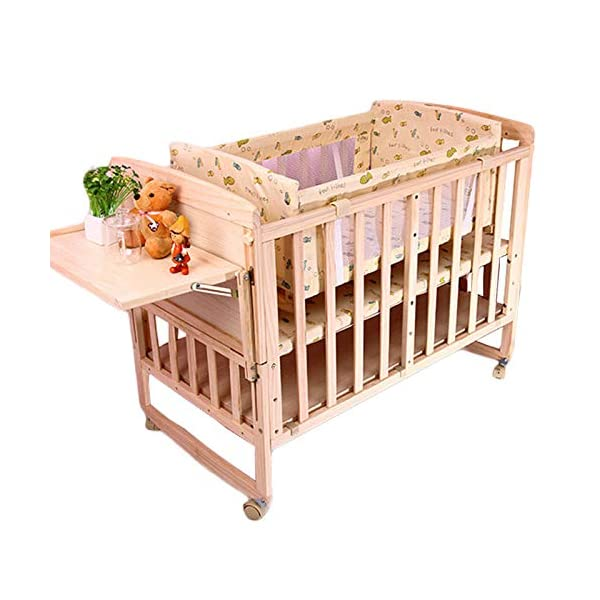 QINYUN Crib Solid Wood Unpainted Crib Baby Bed Cradle Multifunctional Stitching Bed,D QINYUN 1. Wear-resistant, corrosion-resistant, fine texture, hard wood and strong stability. 2. Large bed needles are convenient for mothers to feed. 3. Game fence, baby's game world, can also walk easily. 2