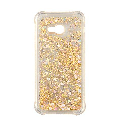 Phcases Cover per Samsung Galaxy A5(2017)/A520,Cover Glitter Liquido, Brillantini Sabbia Custodia con Ultraslim Morbida Silicone Trasparente TPU Paraurti Cover Protettiva(Oro).
