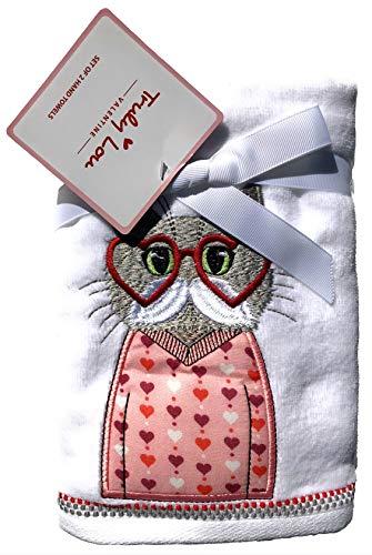Truly Lou Lovable Handtücher Hipster-Katze mit Brille, Bestickt, 2 Stück