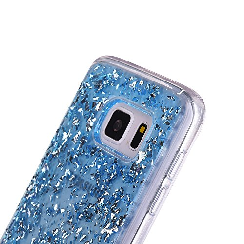 Moda Samsung Galaxy S6 Silicone Custodia, PLECUPE Ultra Thin Brillantini Shiny Glitter Lamina doro Crystal Trasparente Chiaro Caso Cover, Flessible Soft TPU Silicone Rubber Gel Anti-Scratch Full Body Blu