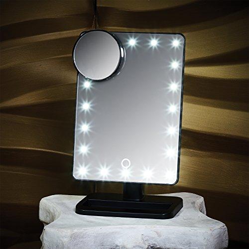 GloBrite Touchscreen-Schminkspiegel mit 20LED-Leuchten und abnehmbarem Vergrößerungsspiegel (zehnfache Vergrößerung) Schwarz