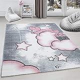 Kinderteppich Kinderzimmer Teppich Bär Wolken Stern-Angeln Grau-Weiß-Pink - 120x170 cm