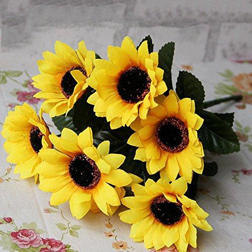 Hausgemachte outflower Blume der Simulation Künstliche 7Sonnenblumen Sonnenblume für die Dekoration der Hochzeit der Dekoration, 26cm