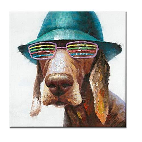 100% handbemalte Ölmalerei 3D Cute The Dog Wearing Louver Gläser auf Leinwand Abstract Modern Pop Canvas Wall Art Decor -