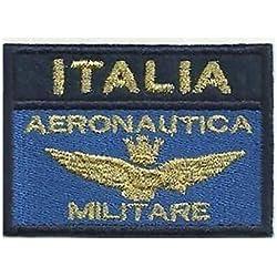 [Patch Bandera Aeronautica Italia Militar var. azul dorado cm 7x 5bordado -170
