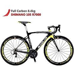 SAVADECK HERD6.0 700C racefiets Shimano 105 Carbon Fiber Transmission System R7000 22S Michelin Tire Fizi: k zadel (Geel Zwart, 52)