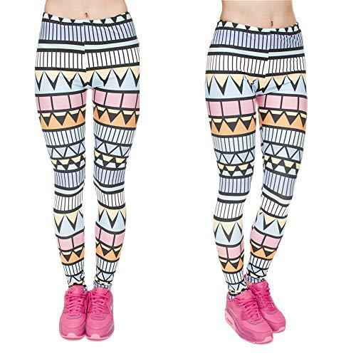 MAOYYMYJK Leggins de impresión Azteca de Moda Legging Punk para Mujer Pantalones elásticos Pantalones Casuales Ajustados Leggings