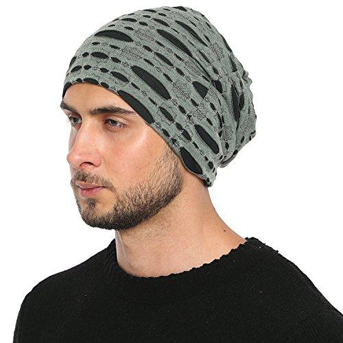 Imagen de dondon hombre jersey gorro en destroyed look para todo el año clásico flexible gorro transpirable suave y adaptable a cualquier talla de cabeza  verde negro