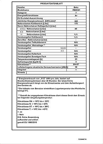 Beko RBI 6301 Integrierbarer Doppeltürer / A+ / 144 cm Höhe / 232 kWh/Jahr / 170 L Kühlteil / 45 L Gefrierteil -