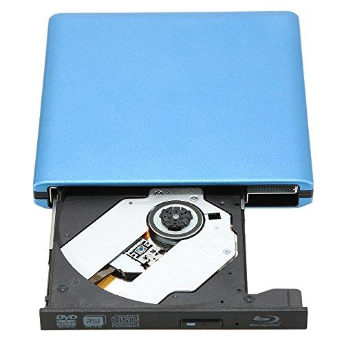 KKmoon USB3.0 Externes SATA Optisches Laufwerk Portable BD-ROM BD / DVD / CD / VCD Spieler Recorder für PC Laptop(Blau)