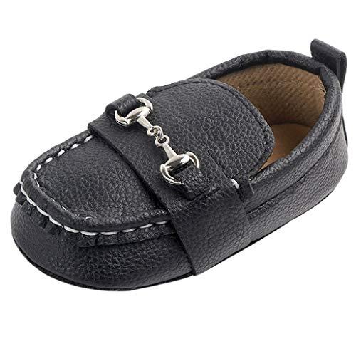 Dorical Schuhe für 3-12 Monate Baby, Neugeborene Mokassins Schuhe Krippe Schuh Mädchen Jungen Rutschfeste Weiche Wohnungen Schuhe Erste Wanderer Kinderschuhe(Schwarz,11 EU)
