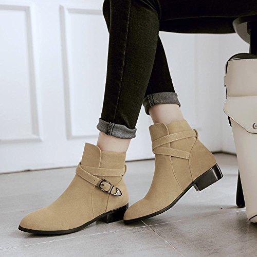 Mee Shoes Damen chunky heels Nubukleder kurzschaft Stiefel Beige