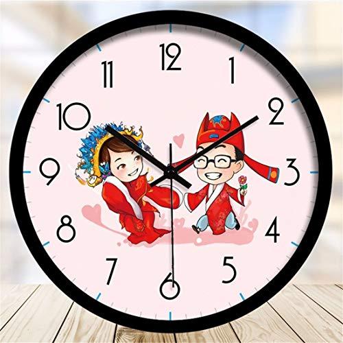 Ticken Anzahl Quarz Wanduhr Wohnzimmer Dekorative Innen Uhr Schlafzimmer Uhr Küchenuhr? Alte Kostüm Paare Cartoon Uhren Moderne Dekor Stummschaltung ()